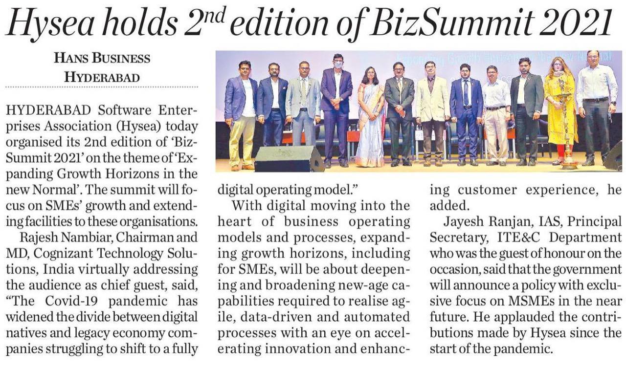 Hyderabad Software Enterprises Association (Hysea) BizSummit